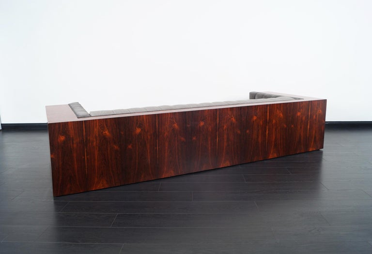 Velvet Thayer Coggin Rosewood Sofa by Milo Baughman For Sale