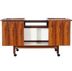 Danish Rosewood Expandable Bar Cart by Niels Erik Glasdam