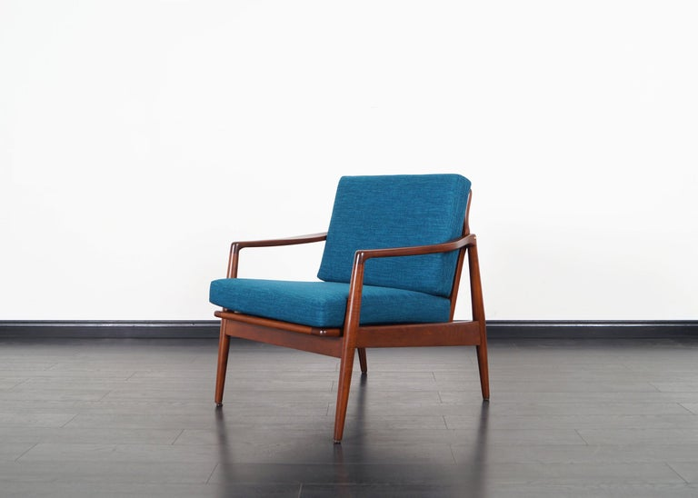 Fabric Mid-Century Modern Walnut Lounge Chairs For Sale