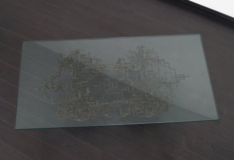 Vintage Brutalist Bronze Coffee Table by Daniel Gluck For Sale 6