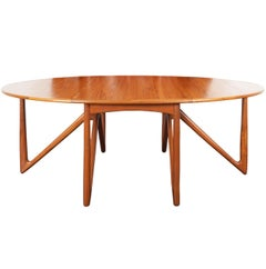 "Danish Teak ""Gateleg"" Drop Leaf Dining Table by Kurt Østervig"