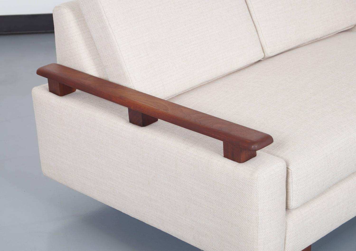 Mid Century Modern Loveseat : Mid-Century Modern Walnut Loveseat For Sale at 1stdibs