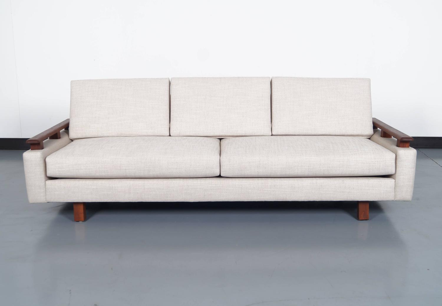 mid century modern walnut sofa for sale at 1stdibs