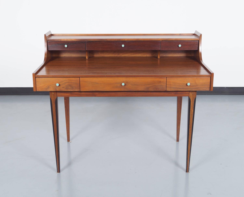 vintage walnut desk by kroehler at 1stdibs