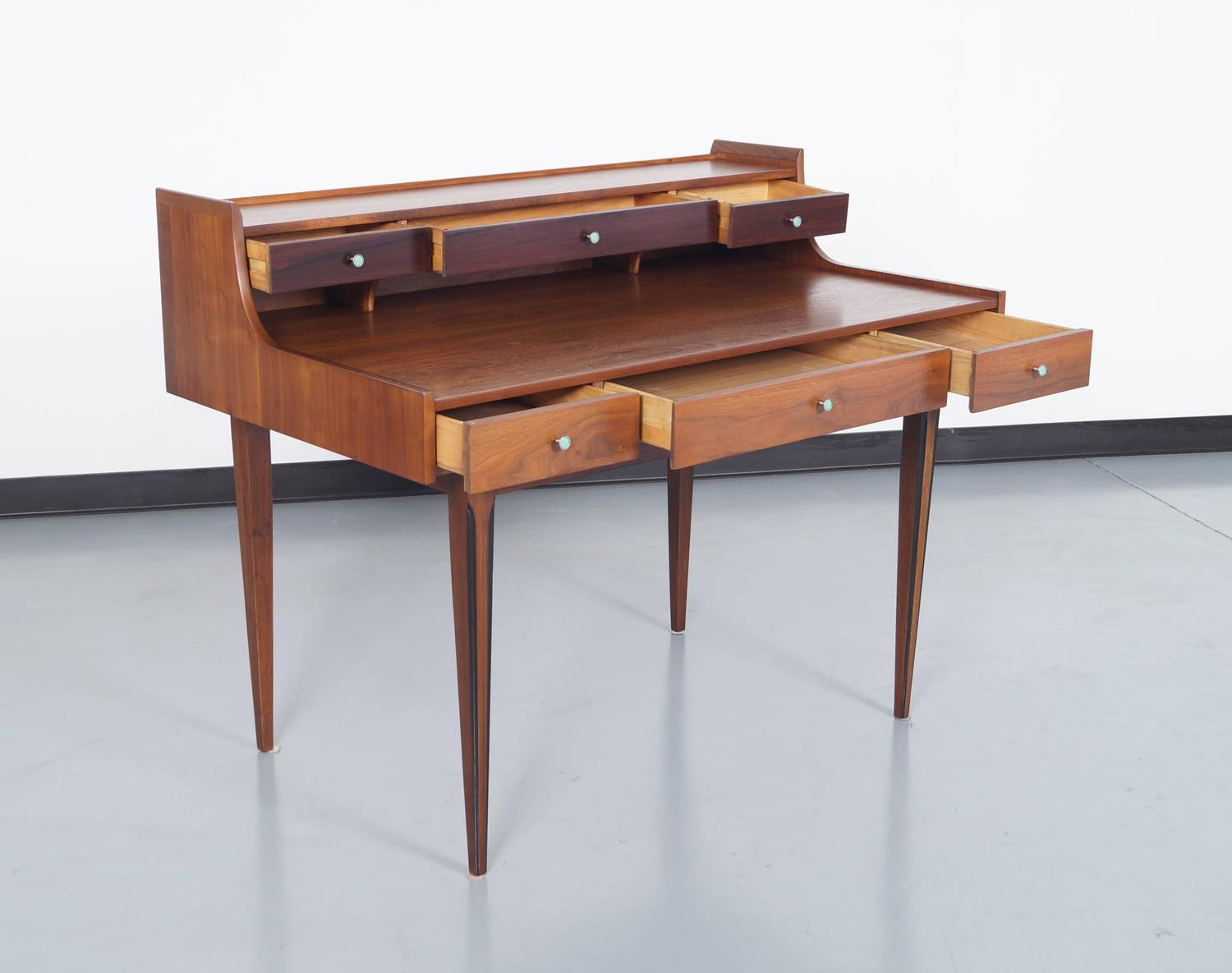 Vintage Walnut Desk by Kroehler at 1stdibs