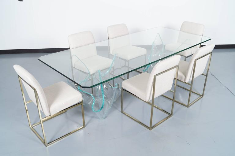 Lovely Glass Dining Room Tables For Sale Part - 3: Vintage Sculptural Glass Dining Table Designed By The Glass Artist Laurel  Fyfe.