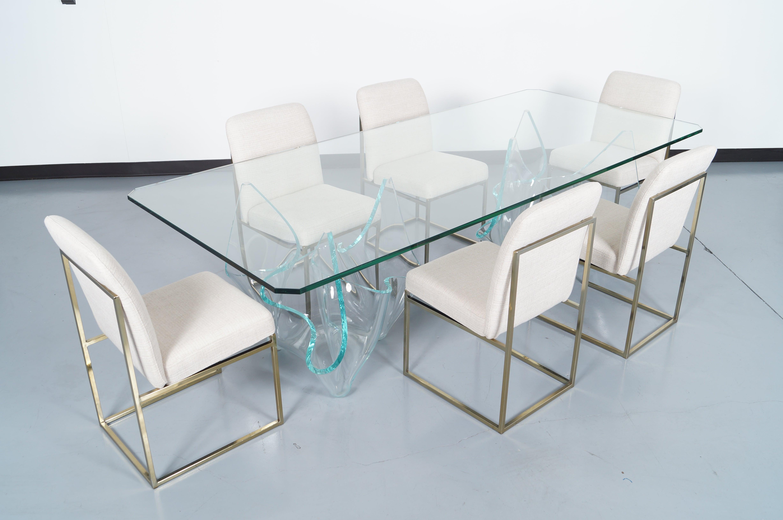 Vintage Sculptural Glass Dining Table by Laurel Fyfe For Sale at 1stdibs