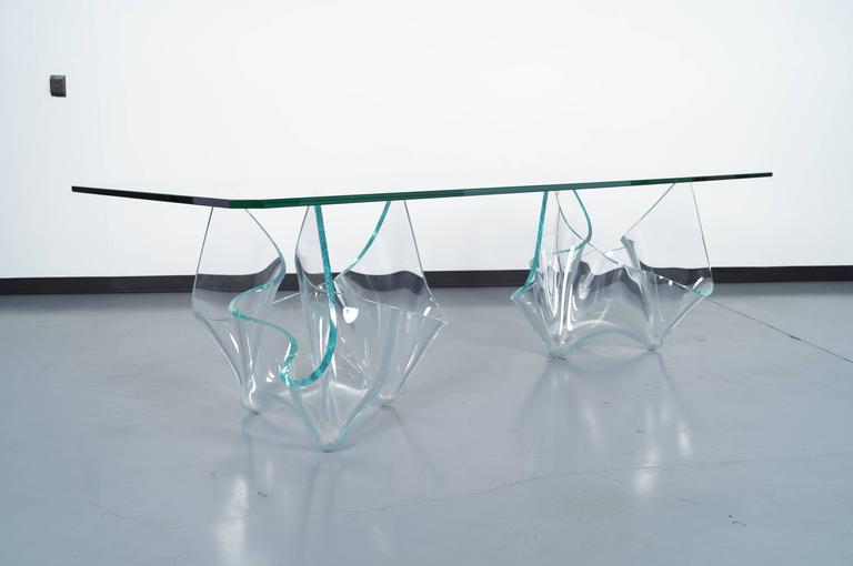Mid-Century Modern Vintage Sculptural Glass Dining Table by Laurel Fyfe For Sale