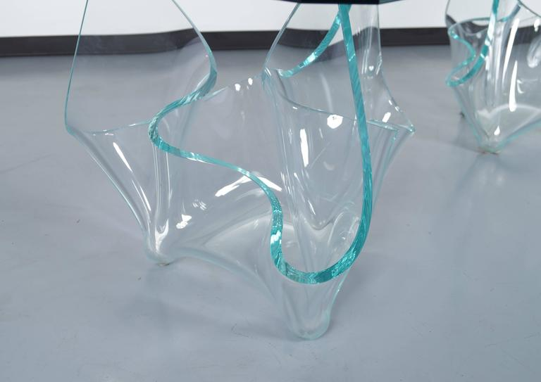 American Vintage Sculptural Glass Dining Table by Laurel Fyfe For Sale