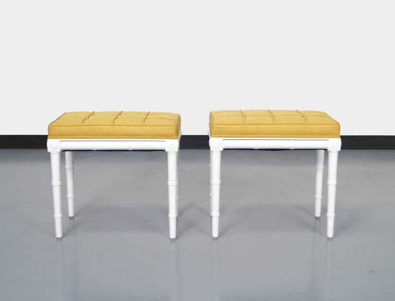 Hollywood Regency Vintage Faux Bamboo Stools For Sale