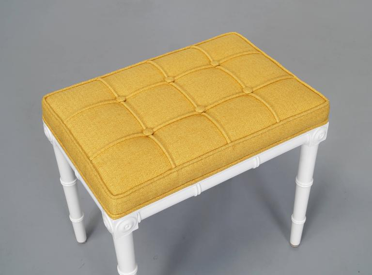 Fabric Vintage Faux Bamboo Stools For Sale