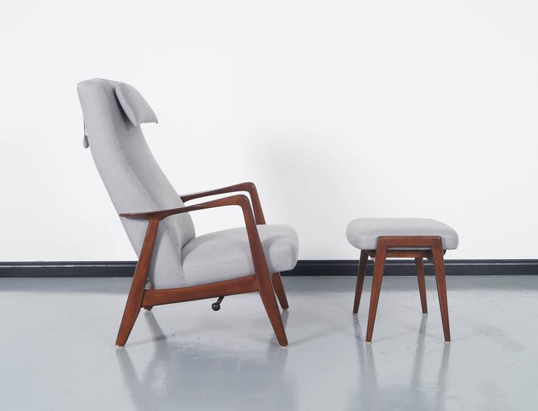 Vintage Reclining Lounge Chair And Ottoman Designed By Folke Ohlsson For  Dux. Features An Adjustable