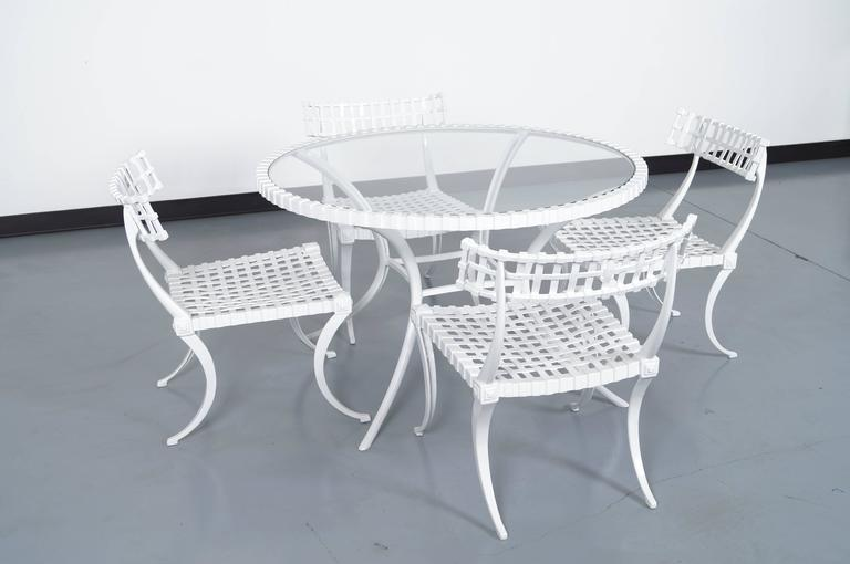 "Vintage Cast Aluminum ""Klismos"" Dining Set by Thinline 5"