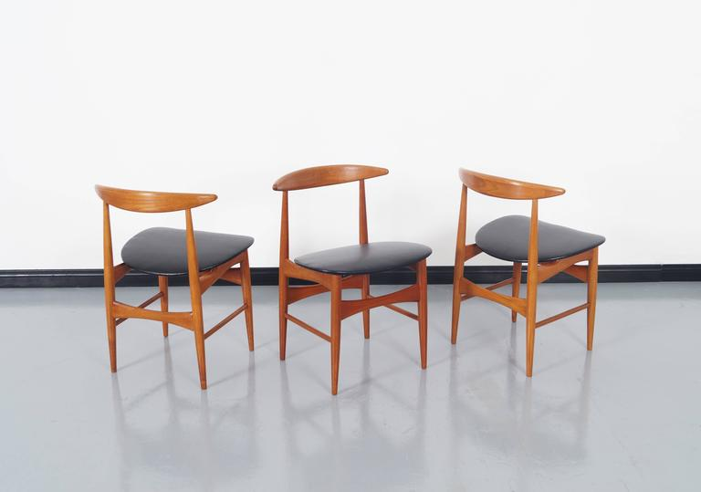 Danish Teak Dining Chairs by Mogens Kold In Excellent Condition For Sale In Burbank, CA