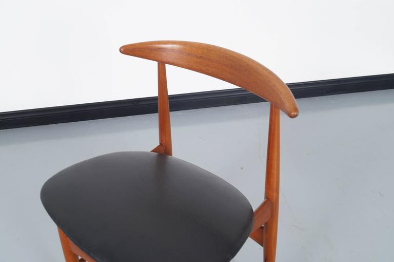 Faux Leather Danish Teak Dining Chairs by Mogens Kold For Sale