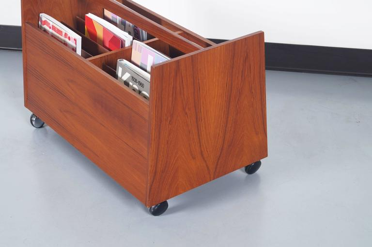 Scandinavian Modern Danish Teak Rolling Magazine or Record Stand by Rolf Hesland For Sale