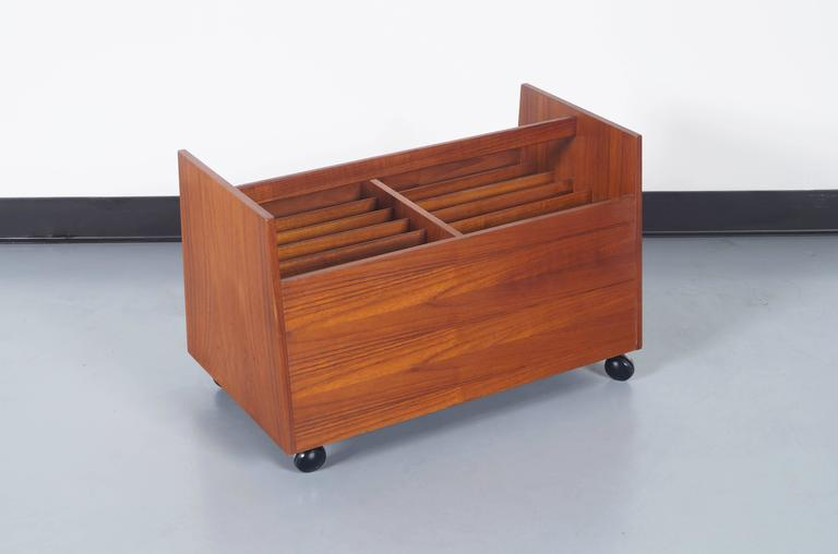 Norwegian Danish Teak Rolling Magazine or Record Stand by Rolf Hesland For Sale