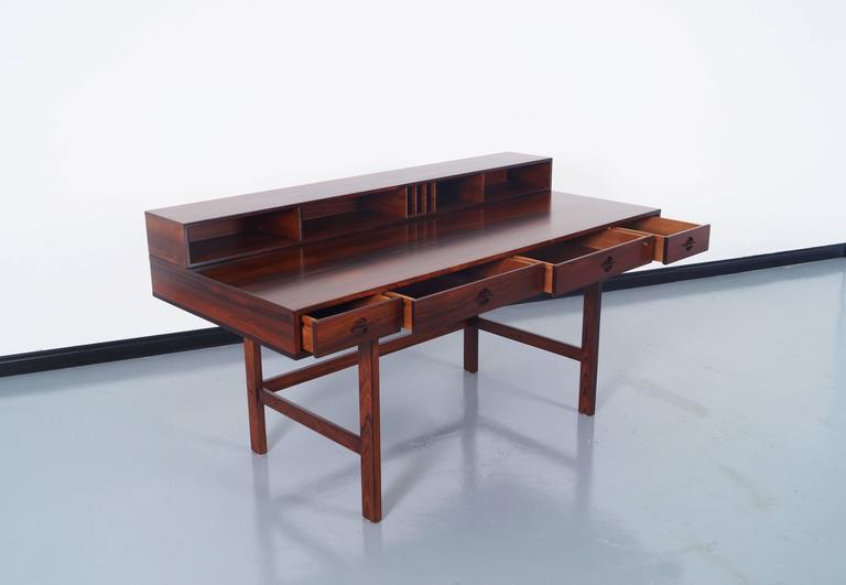 Scandinavian Modern Danish Rosewood Flip Top Desk By Jens Quistgaard