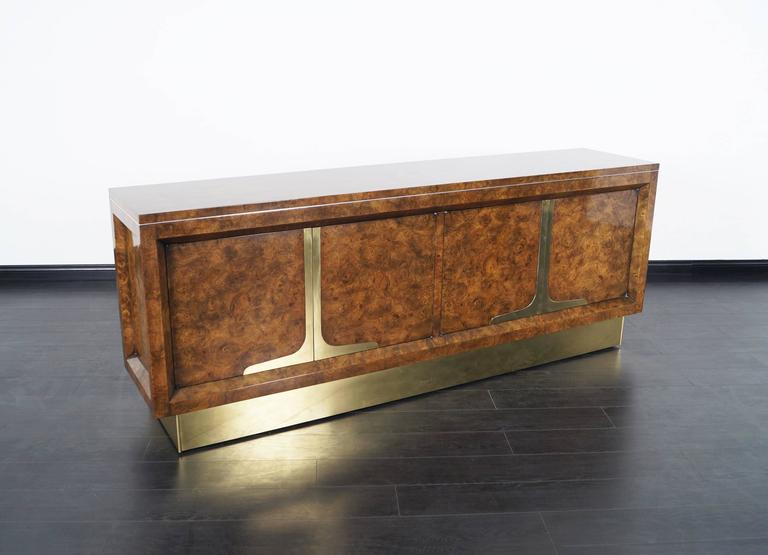 Vintage Burl Wood And Brass Credenza By Mastercraft 2