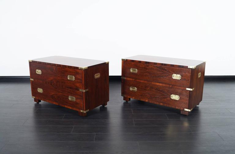 Vintage Rosewood Campaign Style Chest of Drawers by John Stuart 2