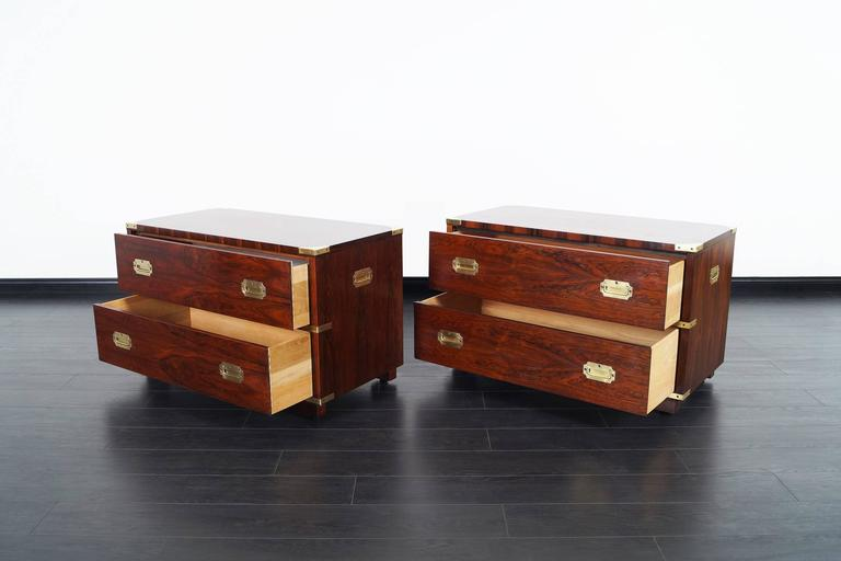 Vintage Rosewood Campaign Style Chest of Drawers by John Stuart 3