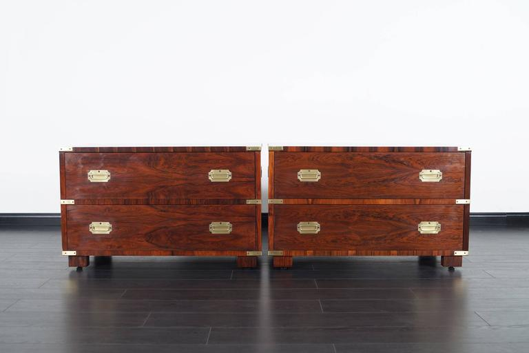Vintage Rosewood Campaign Style Chest of Drawers by John Stuart 4