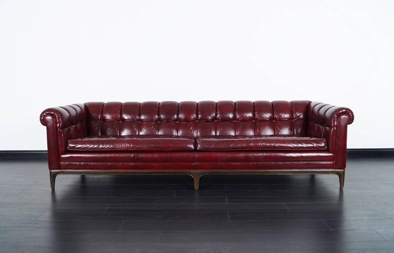 Mid Century Modern Vintage Biscuit Tufted Leather Sofa By Monteverdi Young  For Sale