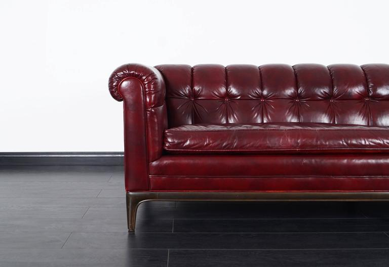 American Vintage Biscuit Tufted Leather Sofa by Monteverdi Young For Sale