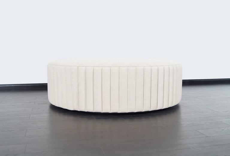 Mid-Century Modern Vintage Oversized Tufted Ottoman/Coffee Table For Sale