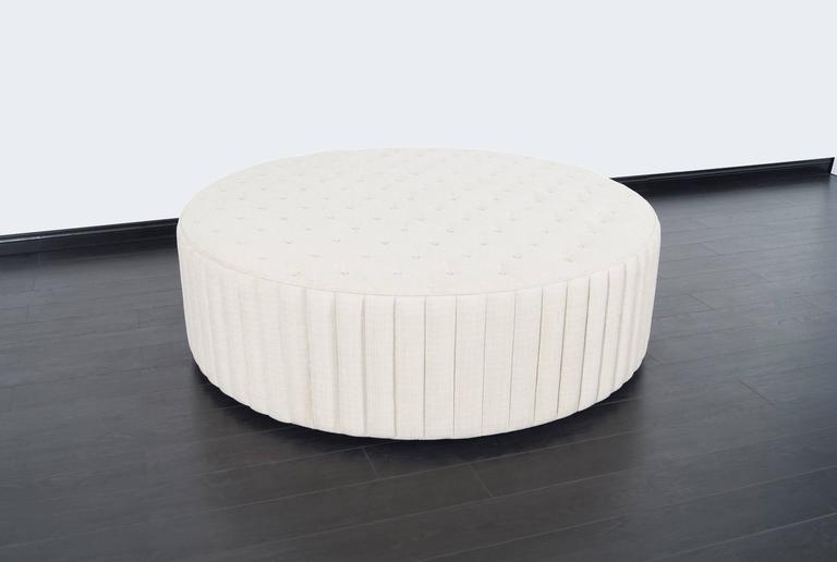 American Vintage Oversized Tufted Ottoman/Coffee Table For Sale