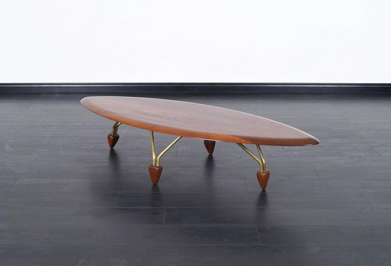 Vintage Walnut Quot Surfboard Quot Coffee Table By John Keal At