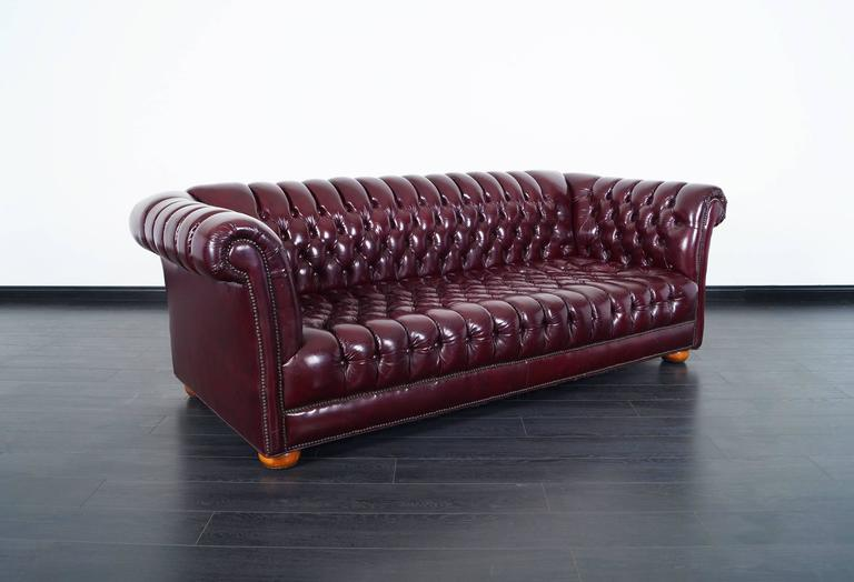 Fabulous Vintage Burgundy Leather Chesterfield Sofa.