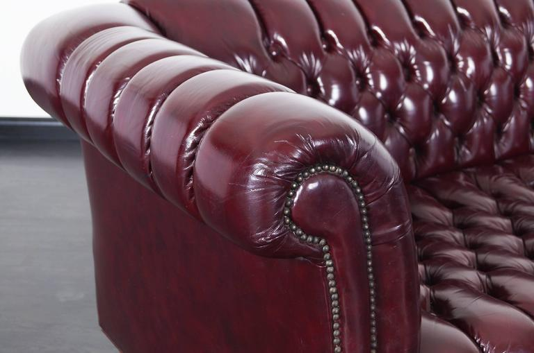 Mid Century Modern Vintage Burgundy Leather Chesterfield Sofa For