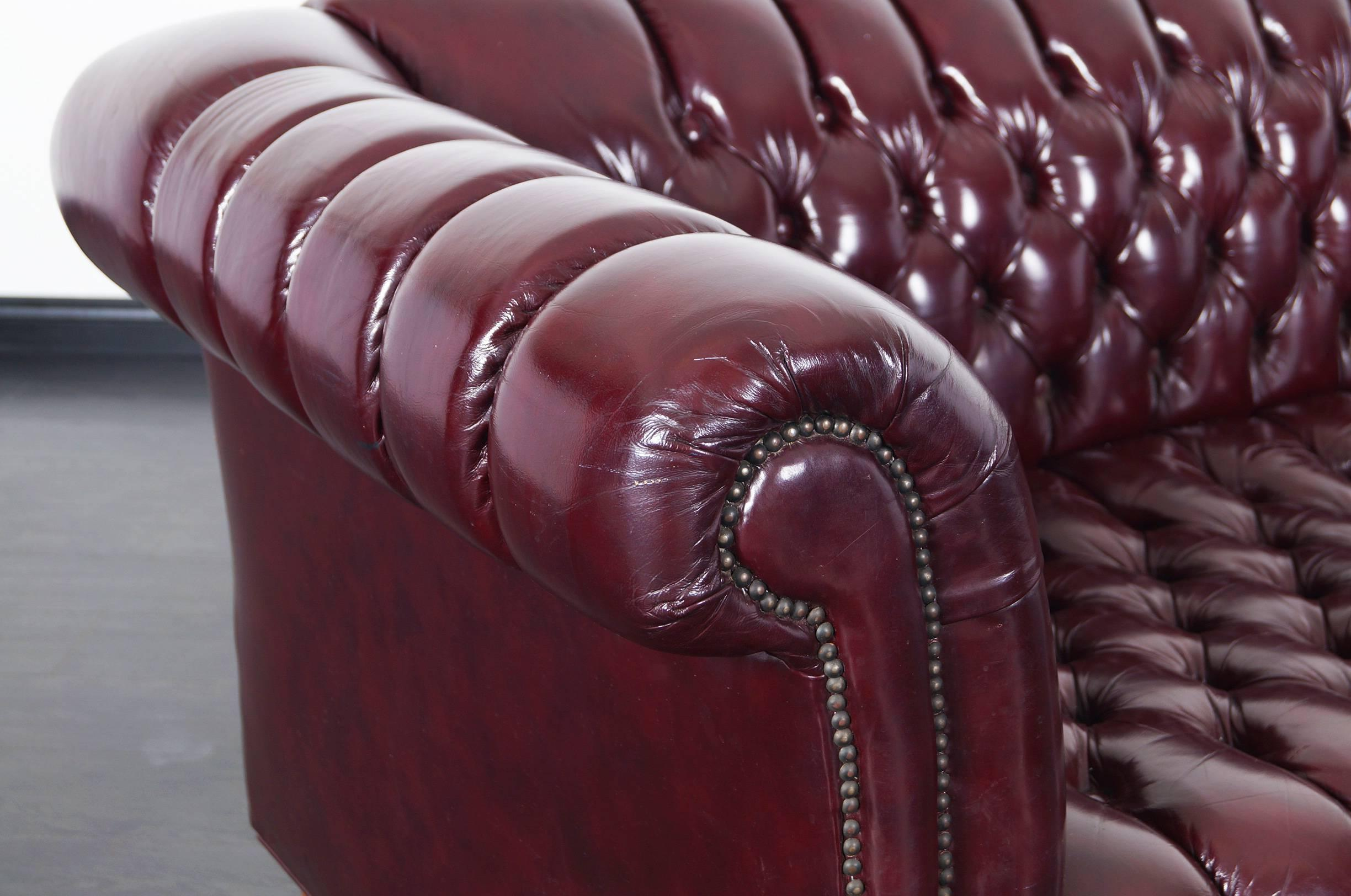 Vintage Burgundy Leather Chesterfield Sofa