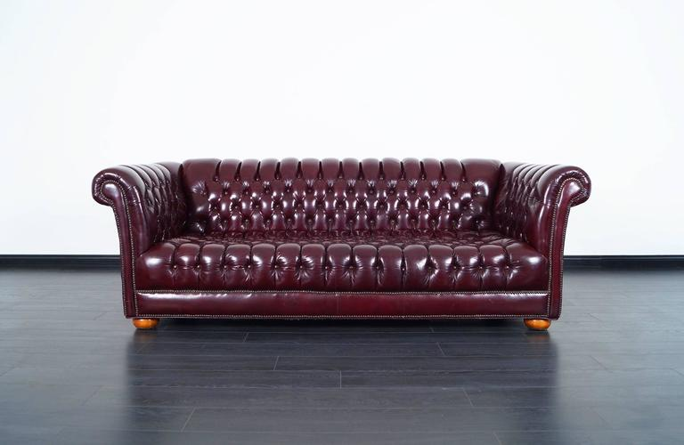 American Vintage Burgundy Leather Chesterfield Sofa