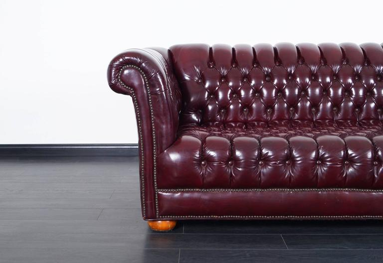 Vintage Burgundy Leather Chesterfield Sofa In Good Condition In Burbank, CA