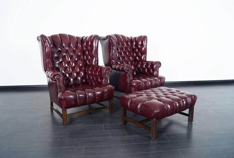 Pair Of Stunning Burgundy Leather Tufted Wingback Chairs. Ottoman Comes  Included. Ottoman: 32