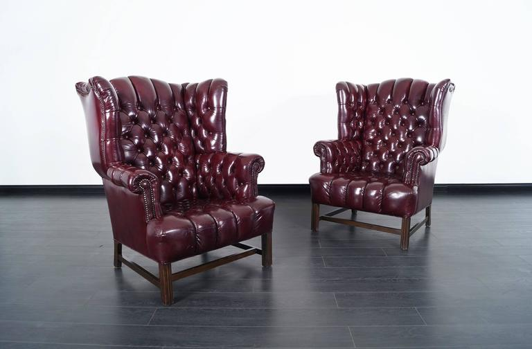 Vintage Leather Tufted Wingback Chairs For Sale At 1stdibs