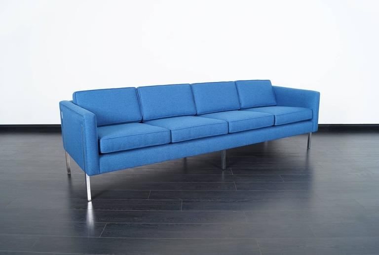 American Mid-Century Modern Chrome Sofa in the Manner of Harvey Probber For Sale