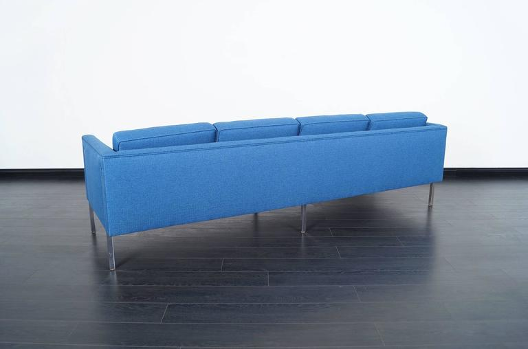 Fabric Mid-Century Modern Chrome Sofa in the Manner of Harvey Probber For Sale