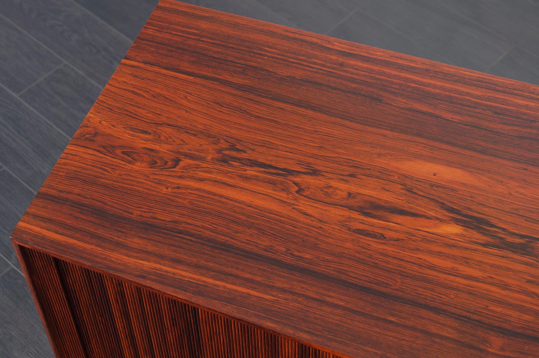 Danish Modern Rosewood Tambour Door Credenza By Ole Wanscher For