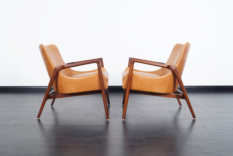 Danish Modern Leather Lounge Chairs by Ib Kofod Larsen 3