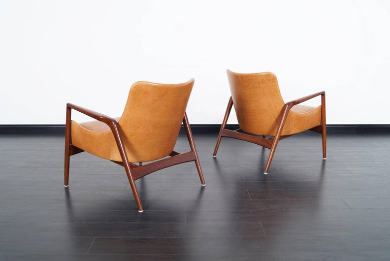 Mid-20th Century Danish Modern Leather Lounge Chairs by Ib Kofod Larsen For Sale
