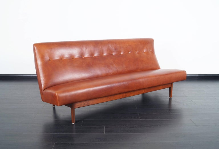 Mid-Century Modern Vintage Leather Sofa by Jens Risom For Sale