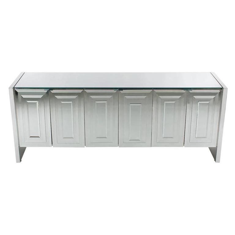 Mirrored Art Deco Credenza / Cabinet by Ello after Pierre Cardin or Paul Evans For Sale