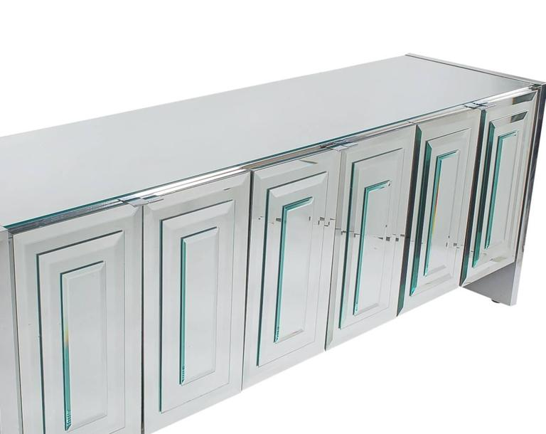 Mid-Century Modern Mirrored Art Deco Credenza / Cabinet by Ello after Pierre Cardin or Paul Evans For Sale