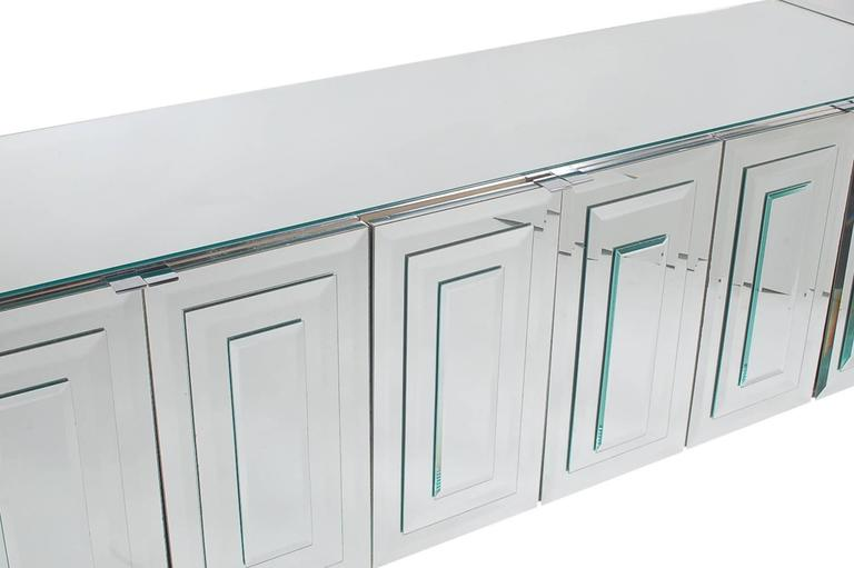 American Mirrored Art Deco Credenza / Cabinet by Ello after Pierre Cardin or Paul Evans For Sale