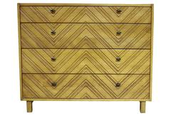 Four-Drawer Carved Front Chevron Dresser Chest