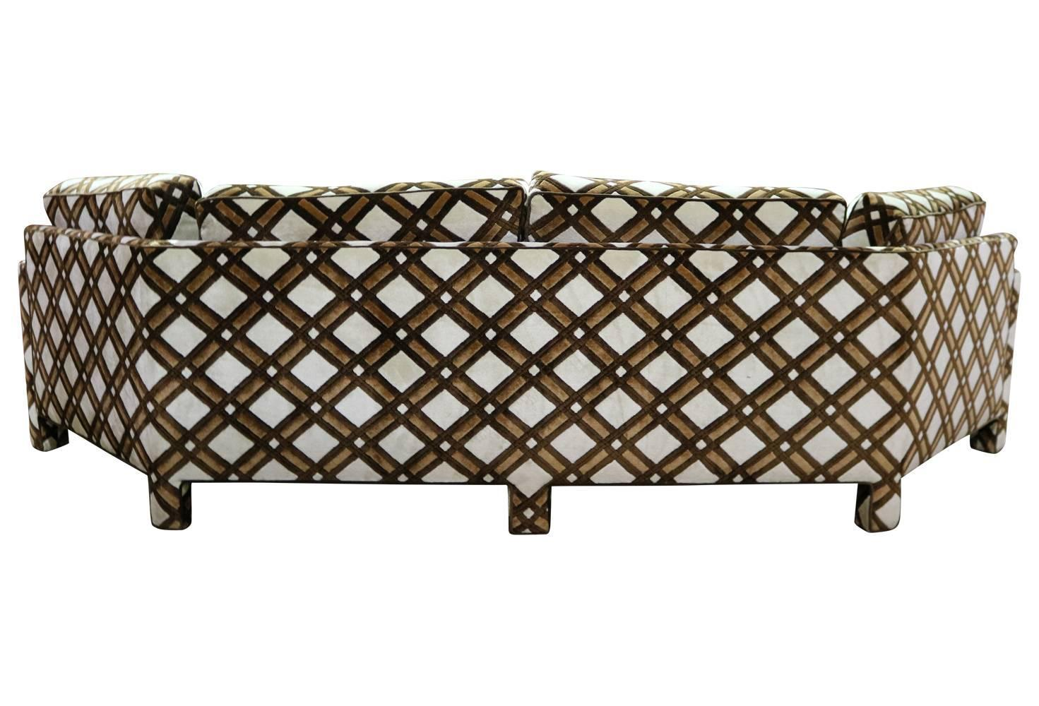 Brown And White Geometric Lattice 1970s Angled Three Sided