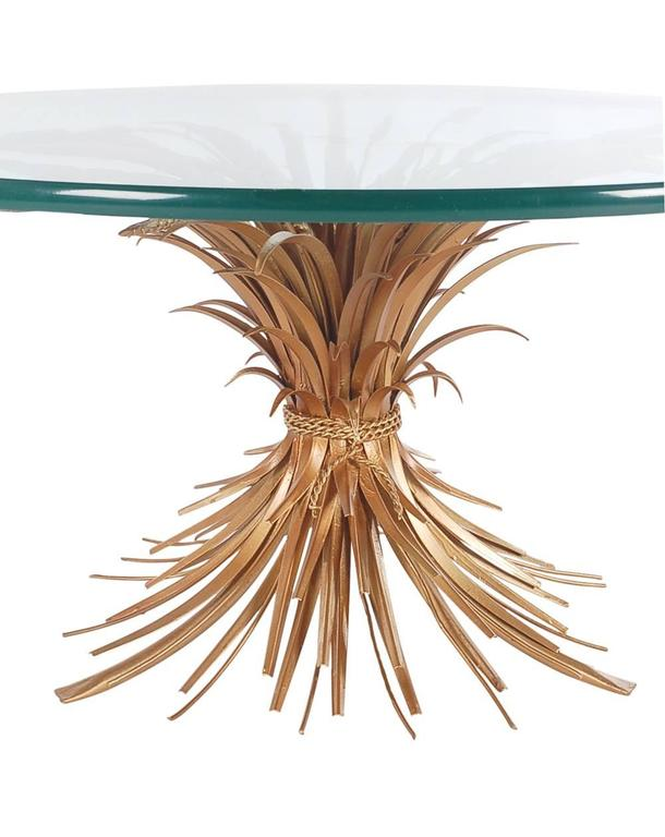 Hollywood Regency Italian Gold Sheaf of Wheat Coffee Table In Excellent Condition For Sale In Philadelphia, PA